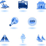 Travel and tourism icon set. A travel and tourism web icon set Royalty Free Stock Photos