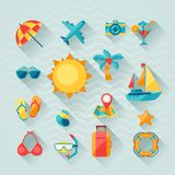 Travel and tourism icon set in flat design style Royalty Free Stock Photo