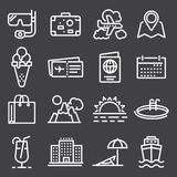 Travel and tourism icon set. On gray background Stock Photo