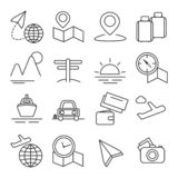 Travel and Tourism Icon Thin Line Set Pixel Perfect Art. Material Design for Web and App. Vector illustration stock illustration