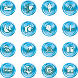Travel and tourism Icons. A series of icons relating to vacations, travel and tourism. No meshes used Royalty Free Stock Photo