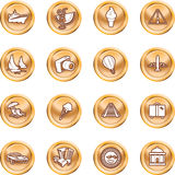 Travel and tourism Icons. A series of icons relating to vacations, travel and tourism. No meshes used Stock Photos