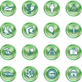 Travel and tourism Icons. A series of icons relating to vacations, travel and tourism. No meshes used Royalty Free Stock Photography