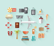 Travel and tourism icons on blue Royalty Free Stock Image