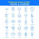 Travel and Tourism Icons - Futuro Blue 25 Icon pack vector illustration