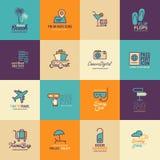 Travel and Tourism icons set flat design, Logo design template icon Royalty Free Stock Photo