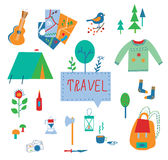 Travel and tourism icons set with funny design Royalty Free Stock Photography