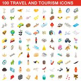 100 travel and tourism icons set, isometric style. 100 travel and tourism icons set in isometric 3d style for any design illustration vector illustration