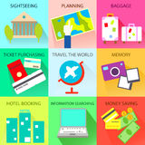 Travel and Tourism Icons and Symbols. Stock Photo