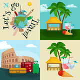 Travel tourism icons vector illustration, vacation traveling on airplane, planning a summer , and journey objects Royalty Free Stock Photos