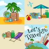 Travel tourism icons vector illustration, vacation traveling on airplane, planning a summer , and journey objects Stock Images