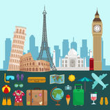 Travel tourism icons vector illustration Royalty Free Stock Photo