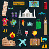 Travel tourism icons vector illustration, vacation traveling on airplane, planning a summer vacation, tourism and Stock Images