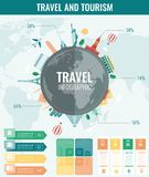 Travel and Tourism. Infographic set with charts and other elements. Vector. Illustration Stock Image