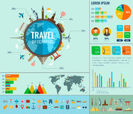 Travel and Tourism. Infographic set with charts and other elements. Vector. Illustration Stock Images