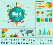 Travel and Tourism. Infographic set with charts and other elements. Vector. Illustration Royalty Free Stock Images