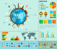 Travel and Tourism. Infographic set with charts and other elements. Vector Royalty Free Stock Images