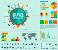 Travel and Tourism. Infographic set with charts and other elements. Vector. Illustration Stock Photos
