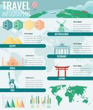 Travel and Tourism Infographic set with famous world landmarks, charts and maps. Vector. Illustration stock illustration