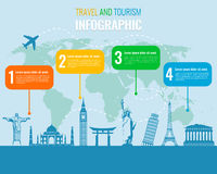 Travel and Tourism. Infographic set with landmarks. Vector. Illustration Royalty Free Stock Images