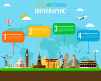 Travel and Tourism. Infographic set with landmarks. Vector. Illustration Royalty Free Stock Image