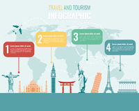 Travel and Tourism. Infographic set with landmarks. Vector. Illustration Stock Images