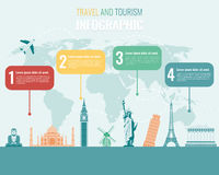 Travel and Tourism. Infographic set with landmarks. Vector royalty free illustration