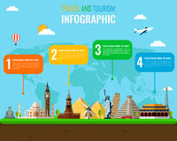 Travel and Tourism. Infographic set with landmarks. Vector. Illustration Stock Image