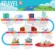 Travel and Tourism. Infographic set with landmarks. Vector. Illustration Stock Photo
