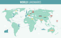 Travel and Tourism. Infographic set with world map and landmarks. Vector. Illustration Stock Image