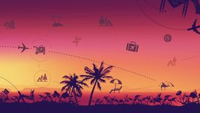 Travel And Tourism Landmark Background. The video design is an Fashionable infographic on a gentle tropical background of the ocean and palms. Advertise your new stock footage