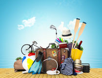 Travel and tourism. A large pile of Luggage Stock Image