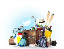 Travel and tourism. A large pile of Luggage Royalty Free Stock Photos