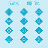 Travel and tourism line Icons set. Camping Stock Photos