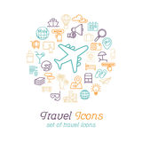 Travel and Tourism line icons set flat design, Logo design template