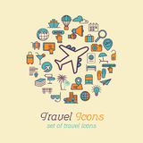 Travel and Tourism line icons set flat design, Logo design template Stock Images