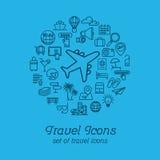Travel and Tourism line icons set flat design, Logo design template Stock Photos