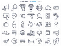 Travel and Tourism line icons set flat design Royalty Free Stock Photography