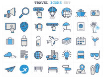Travel and Tourism line icons set flat design Stock Images