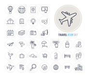Travel and Tourism line icons set flat design Royalty Free Stock Images