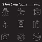 Travel and tourism line icons set, outline vector symbol collect Royalty Free Stock Image