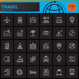 Travel and tourism line icons set, outline vector symbol collection, linear pictogram pack isolated on black Royalty Free Stock Image