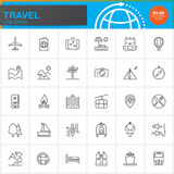 Travel and tourism line icons set, outline vector symbol  Stock Image