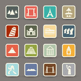 Travel and tourism locations icons Stock Photos