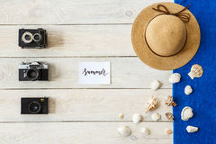 Travel tourism objects  top view vacation conecpt Stock Photography