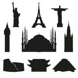 Travel and tourism.A set of icons depicting the world`s architectural landmarks. Vector. royalty free illustration