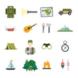 Travel tourism sightseeing accessory equipment flat vector Royalty Free Stock Image