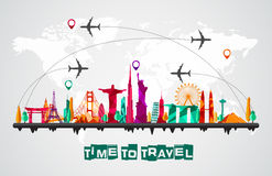 Travel and tourism of silhouettes icons skyline background Royalty Free Stock Images