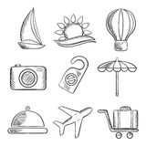 Travel and tourism sketched icons set Royalty Free Stock Photography
