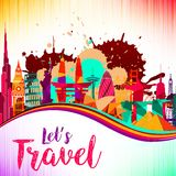 Travel and tourism on skyline background splash paint violet and yellow, red, beautiful colorful architecture. Illustration of Travel and tourism on skyline Royalty Free Stock Images